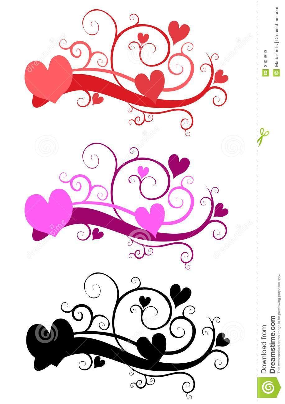 Decorative Valentine's Day Clip Art Stock Illustration.