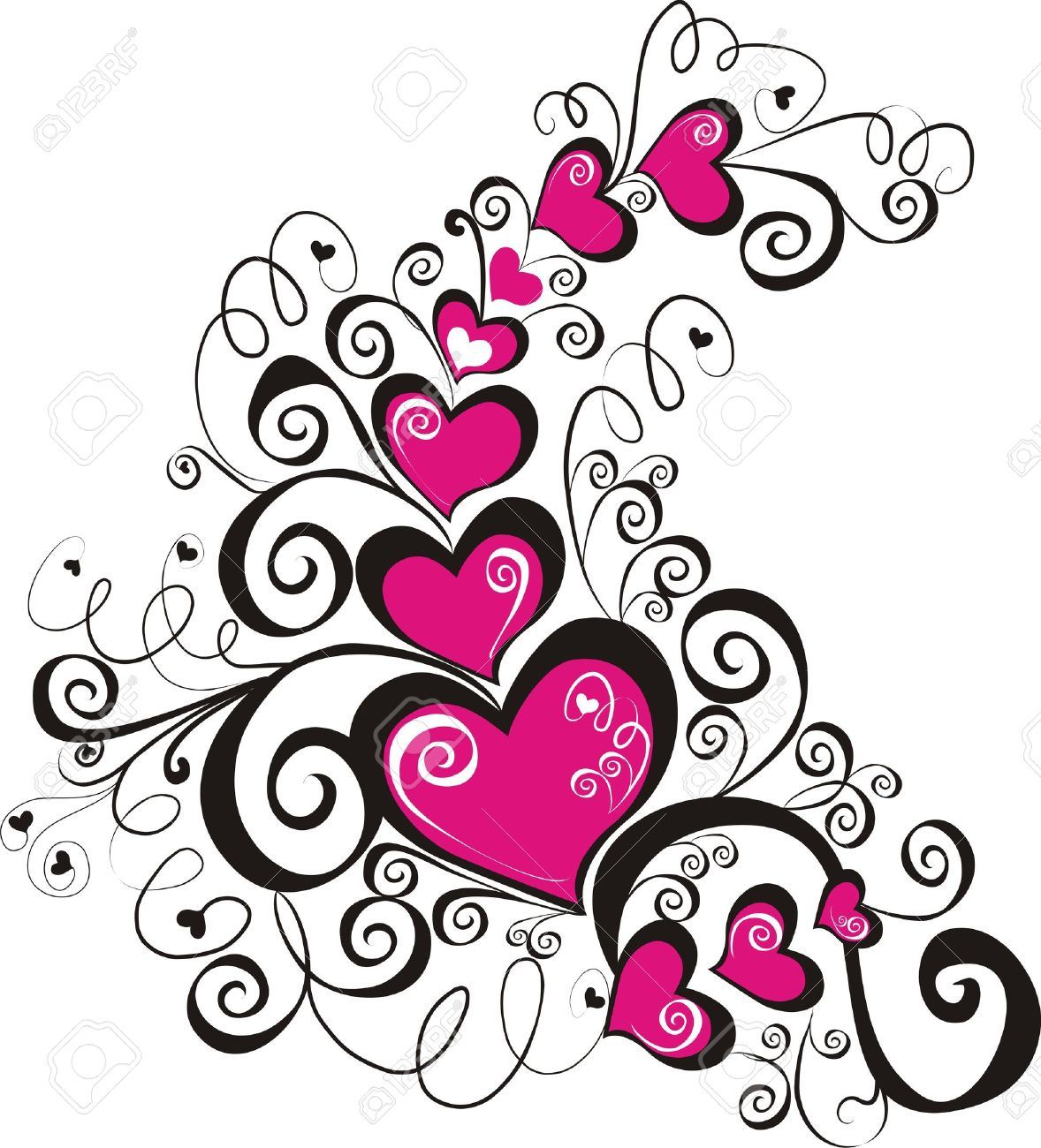 Decorative hearts, element for design.