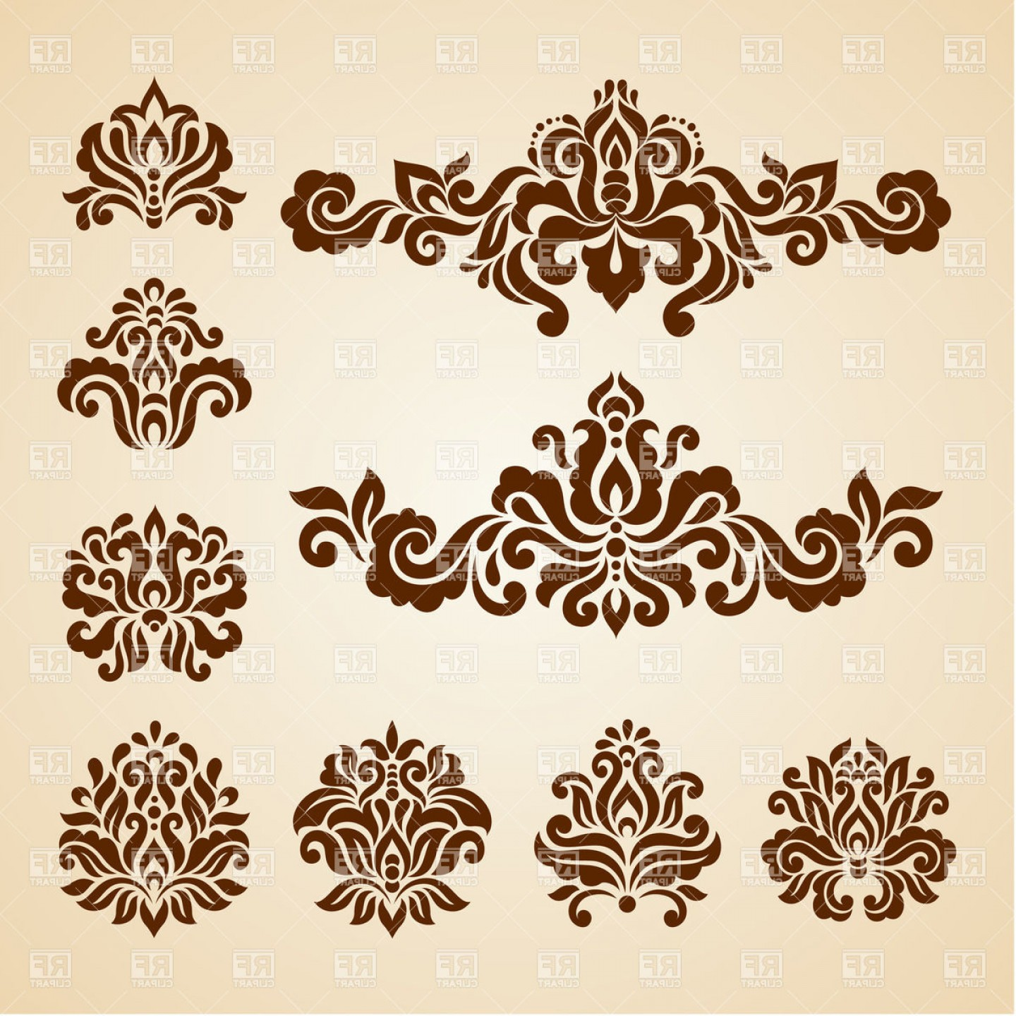 Ornate Vintage Vignettes And Dividers Antique Decorative Design.