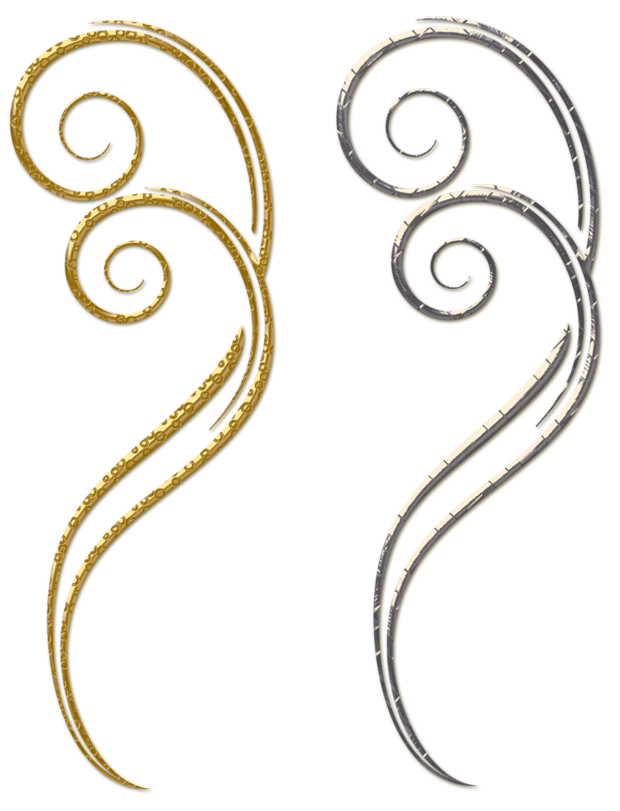 Gold and Silver Decorative Ornaments PNG Clipart.