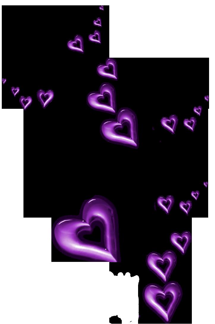 Purple Decorative Hearts Ornaments PNG Clipart.