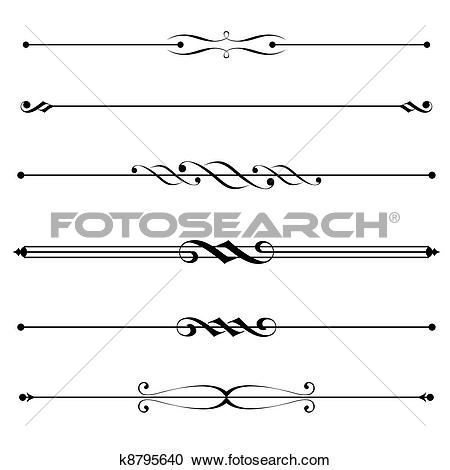 Clipart of decorative elements, border and page rules k8795640.