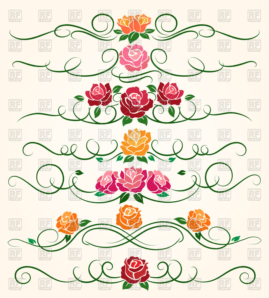 Decorative flourish borders and rose flower dividers Stock Vector Image.