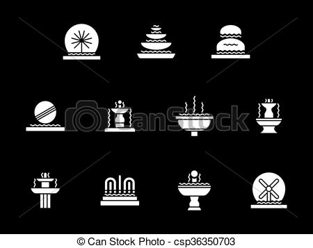 Vector Clipart of White glyph decorative fountains vector icons.