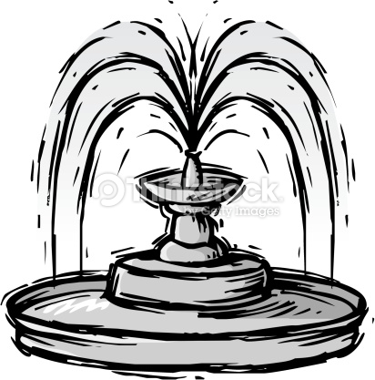 Decorative Fountain Grayscale Vector Art.