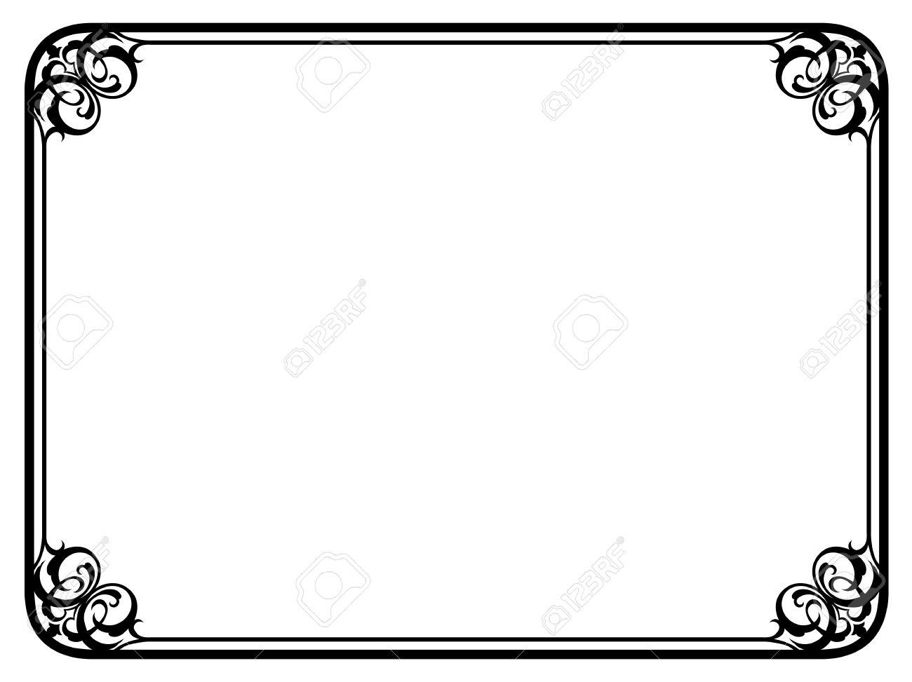 Vector simple black calligraph ornamental decorative frame pattern.