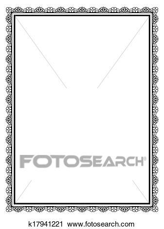 Simple black ornamental decorative frame Clipart.