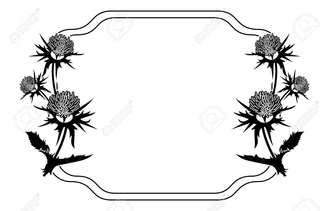 Decorative frame with thistle silhouette. Vector clip art..