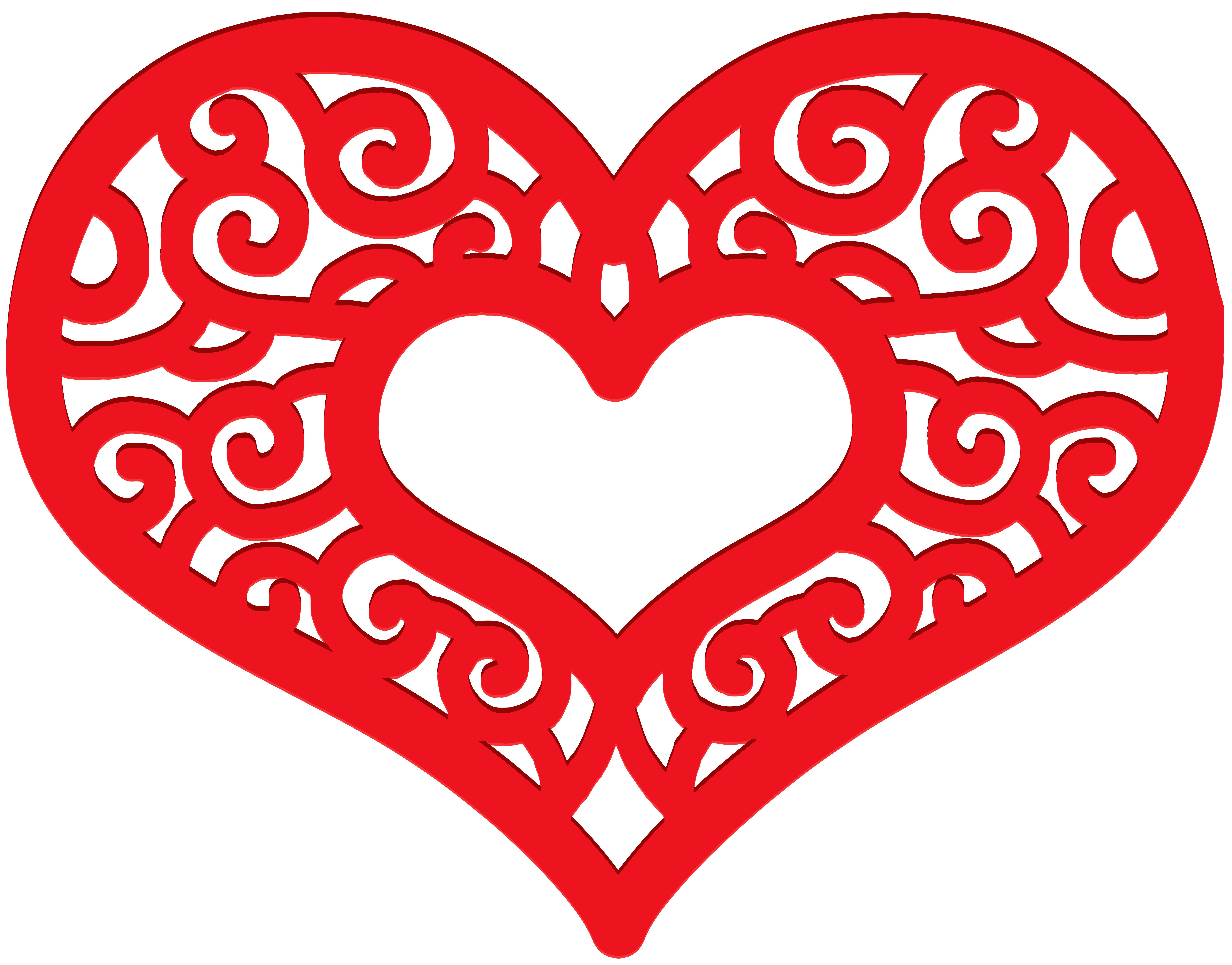 Decorative Red Heart PNG Clip Art Image.