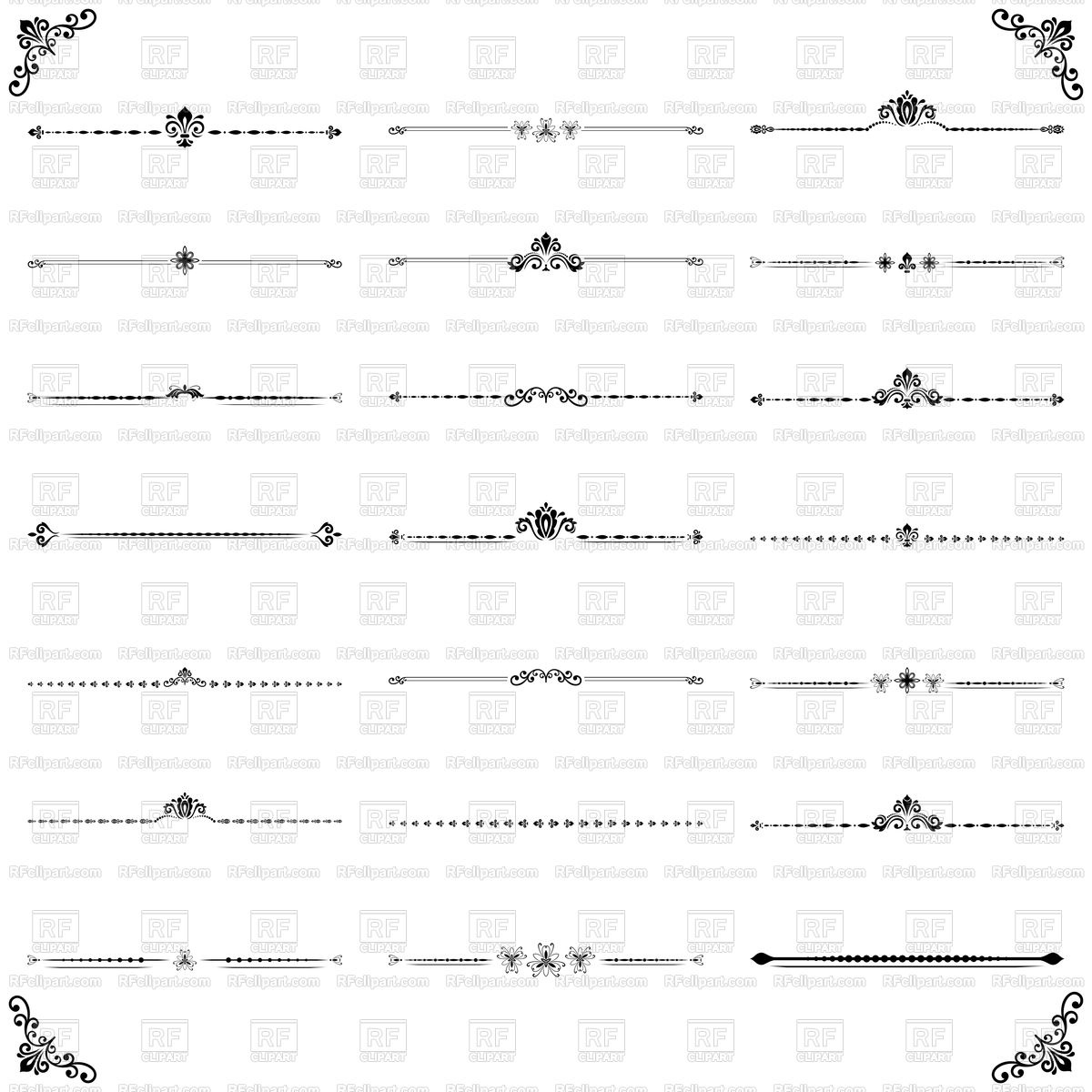 Vintage set of decorative horizontal ornaments Stock Vector Image.