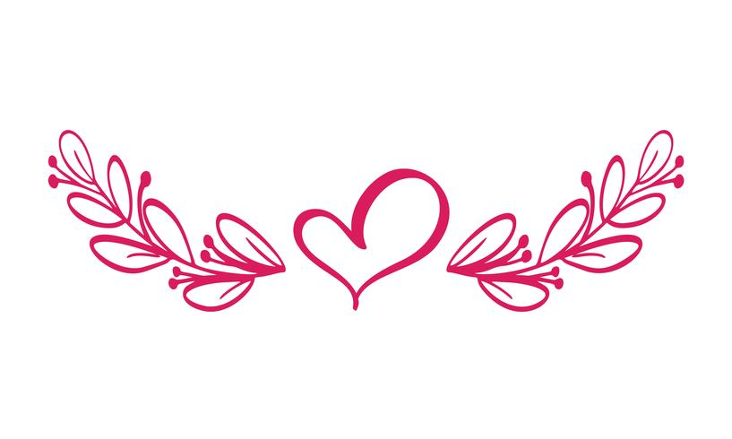 Dividers vector isolated. Horizontal vintage line with heart.