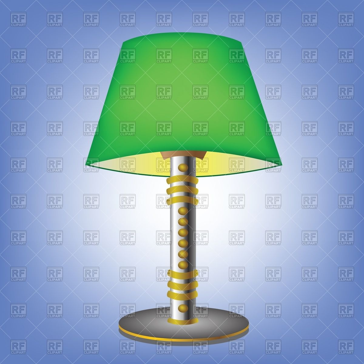 Decorative table lamp with green lampshade Vector Image #39587.