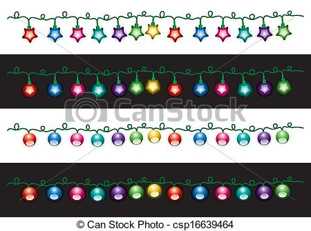 Clip Art Vector of vector christmas electric light lamps.