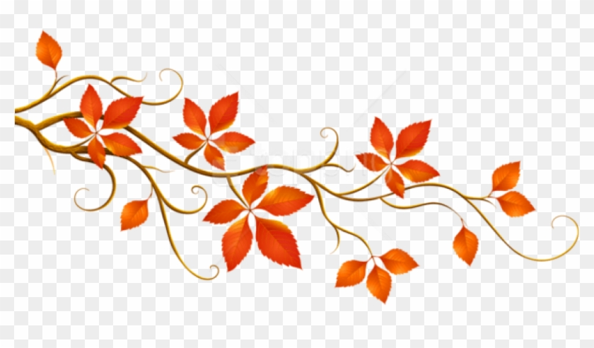 Free Png Download Decorative Branch With Autumn Leaves.