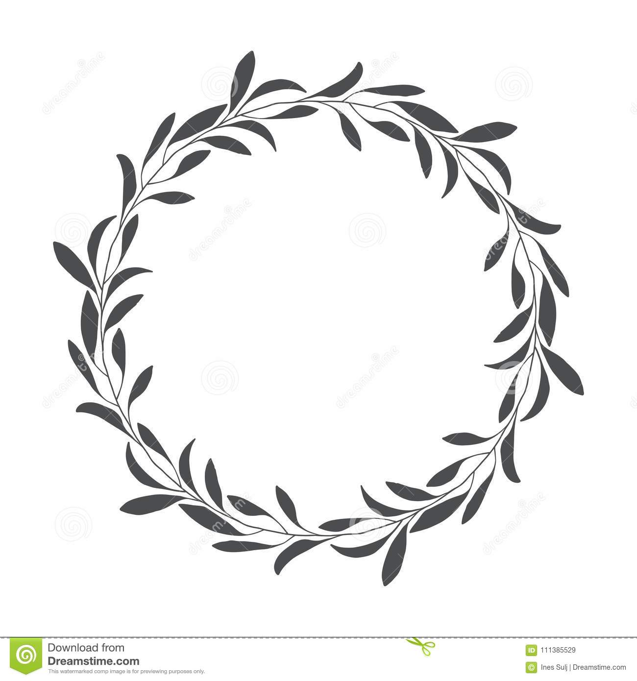 Vector Hand Drawn Floral Wreath, Round Frame With Leaves Stock.