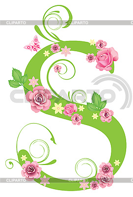 Decorative letter w with roses.