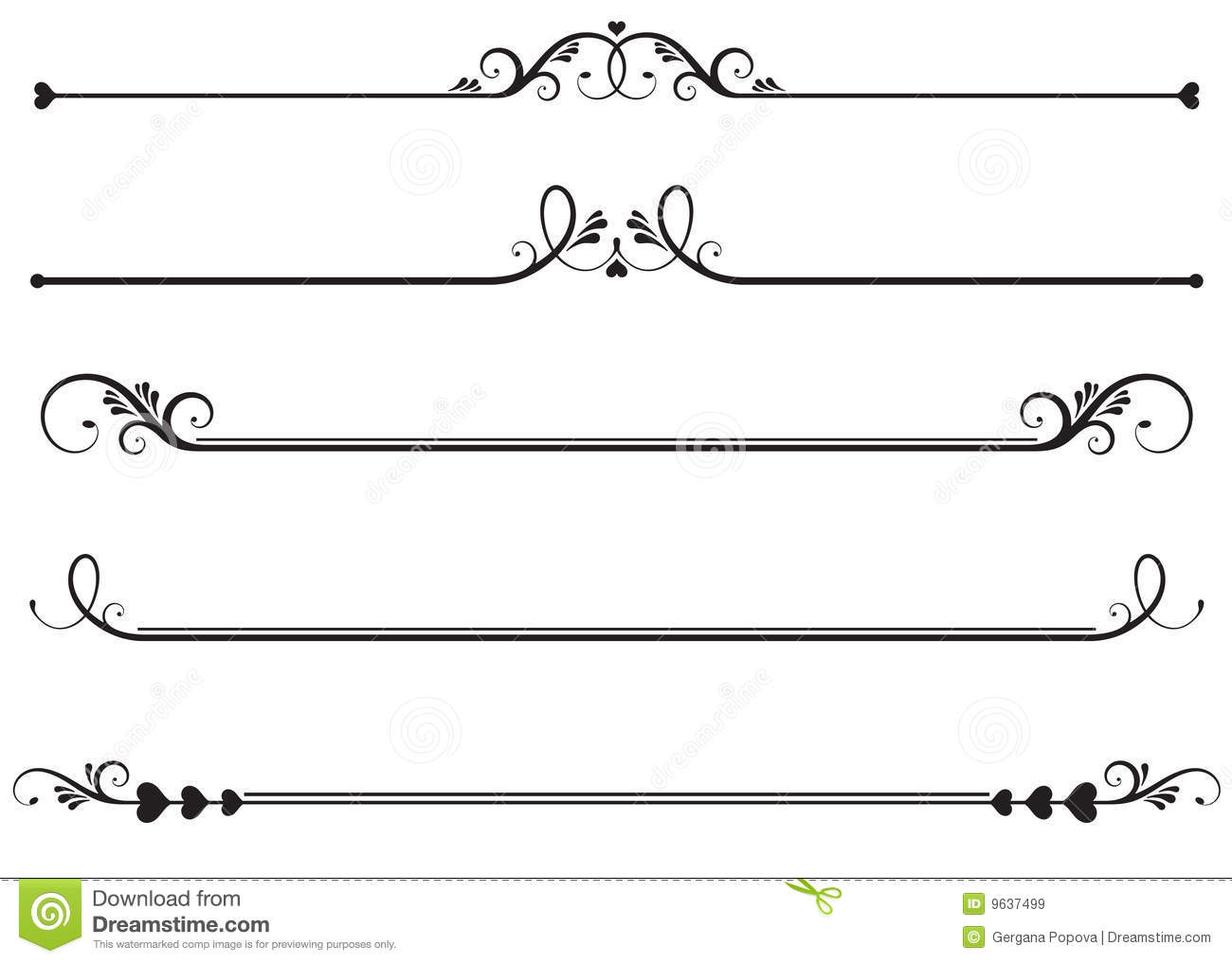 12 Decorative Line Vector Art Images.