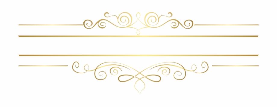 Gold Decorative Lines Png Transparent Background.