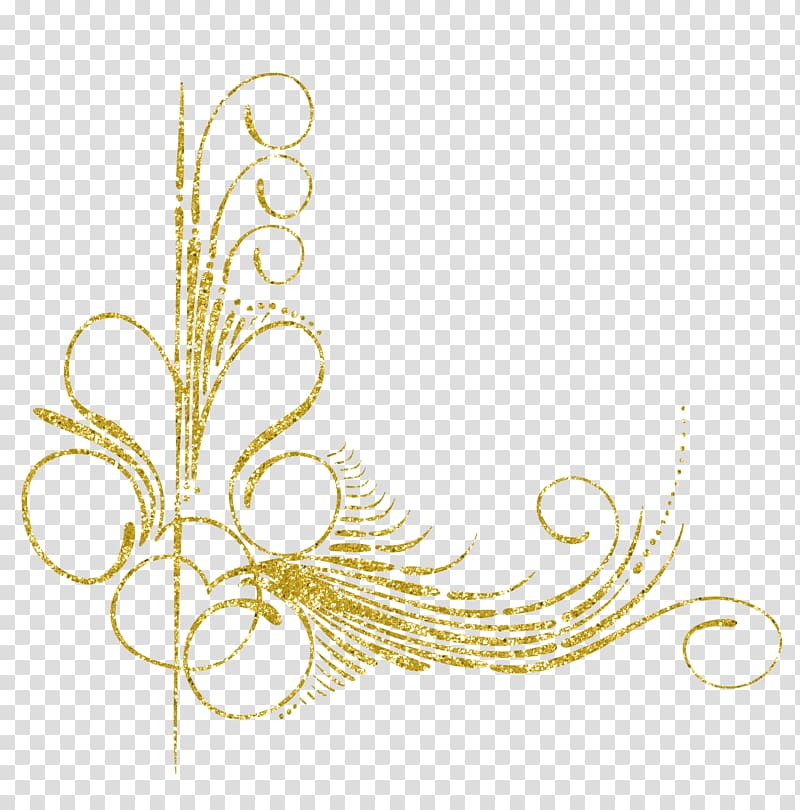 Gold digital design, Motif Feather Ornament, Gold decorative.