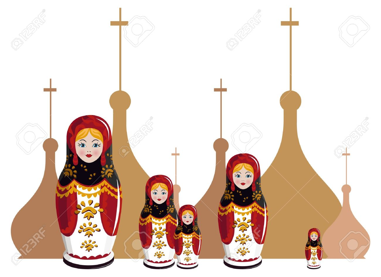 Illustration Of Russian Dolls With Onion Domes Silhouette Royalty.