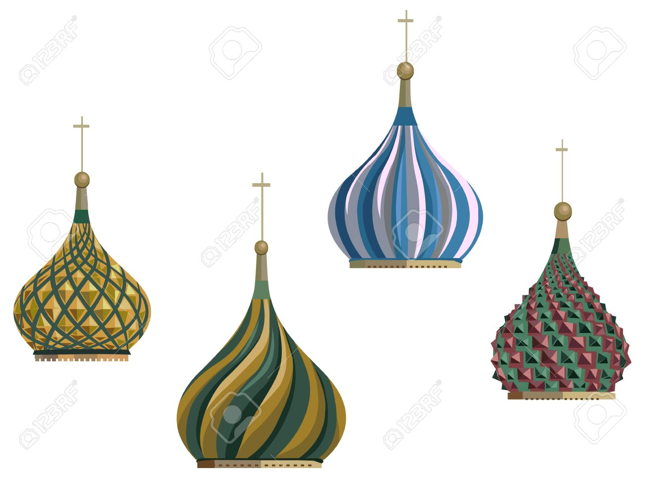 Illustration Of Kremlin Domes, Isolated On White Background.