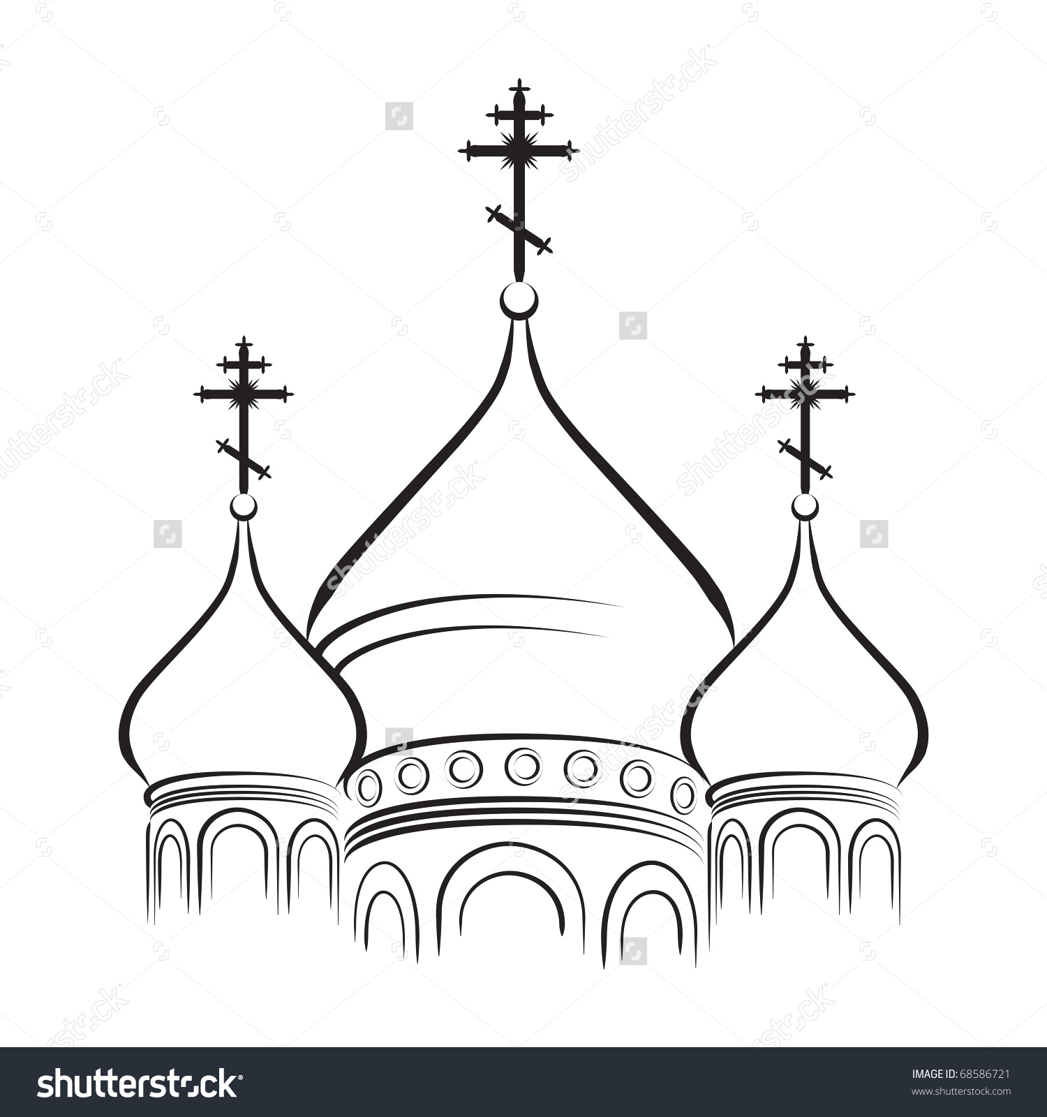 Bulbous Onionshaped Domes Orthodox Cathedral Temple Stock Vector.