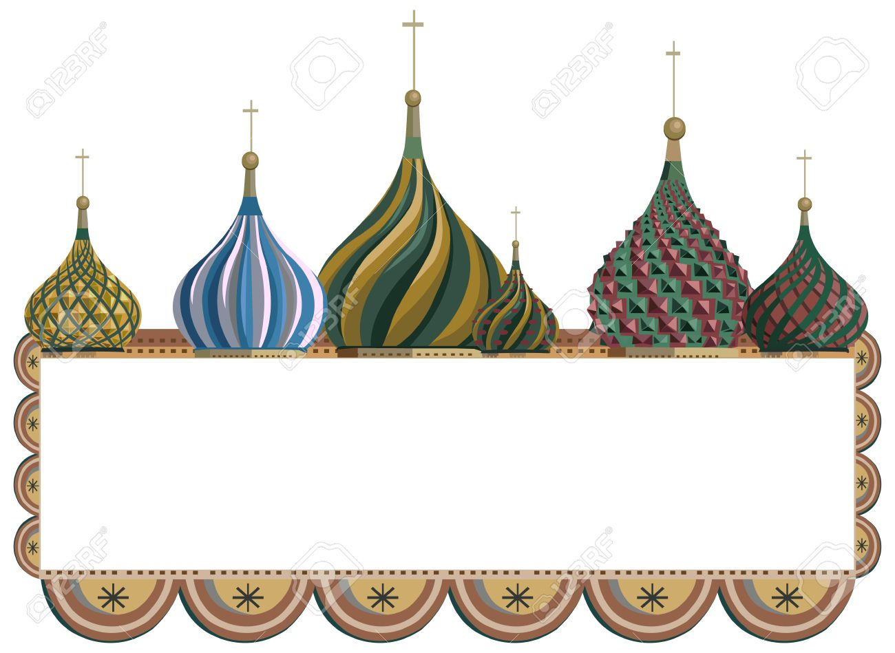 Ornamental Frame Illustration With Kremlin Domes, Isolated On.