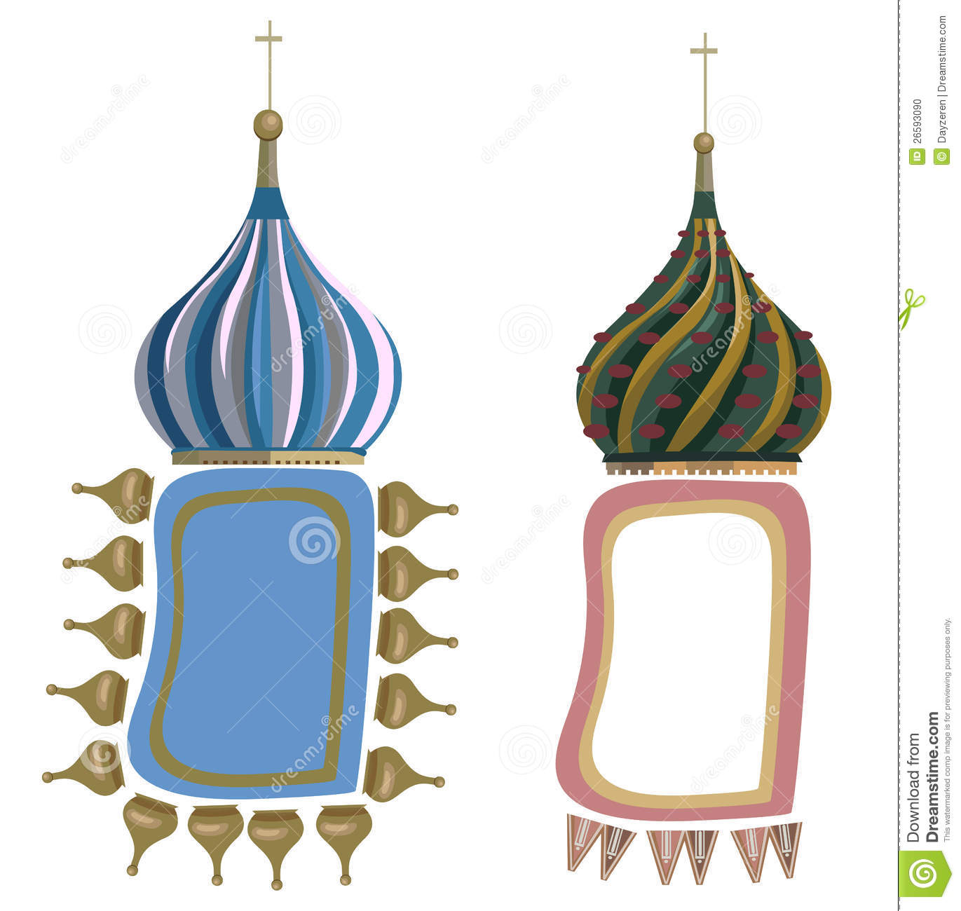 Frames With Russian Domes Stock Photo.