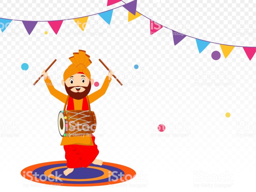 Cute Punjabi Man Dancing While Playing Drum On Decorative Png.