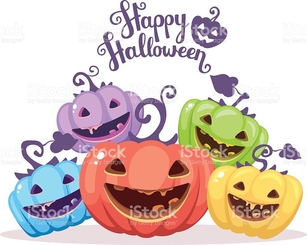 Vector Halloween Illustration Of Heap Decorative Pumpkins Of Dif.