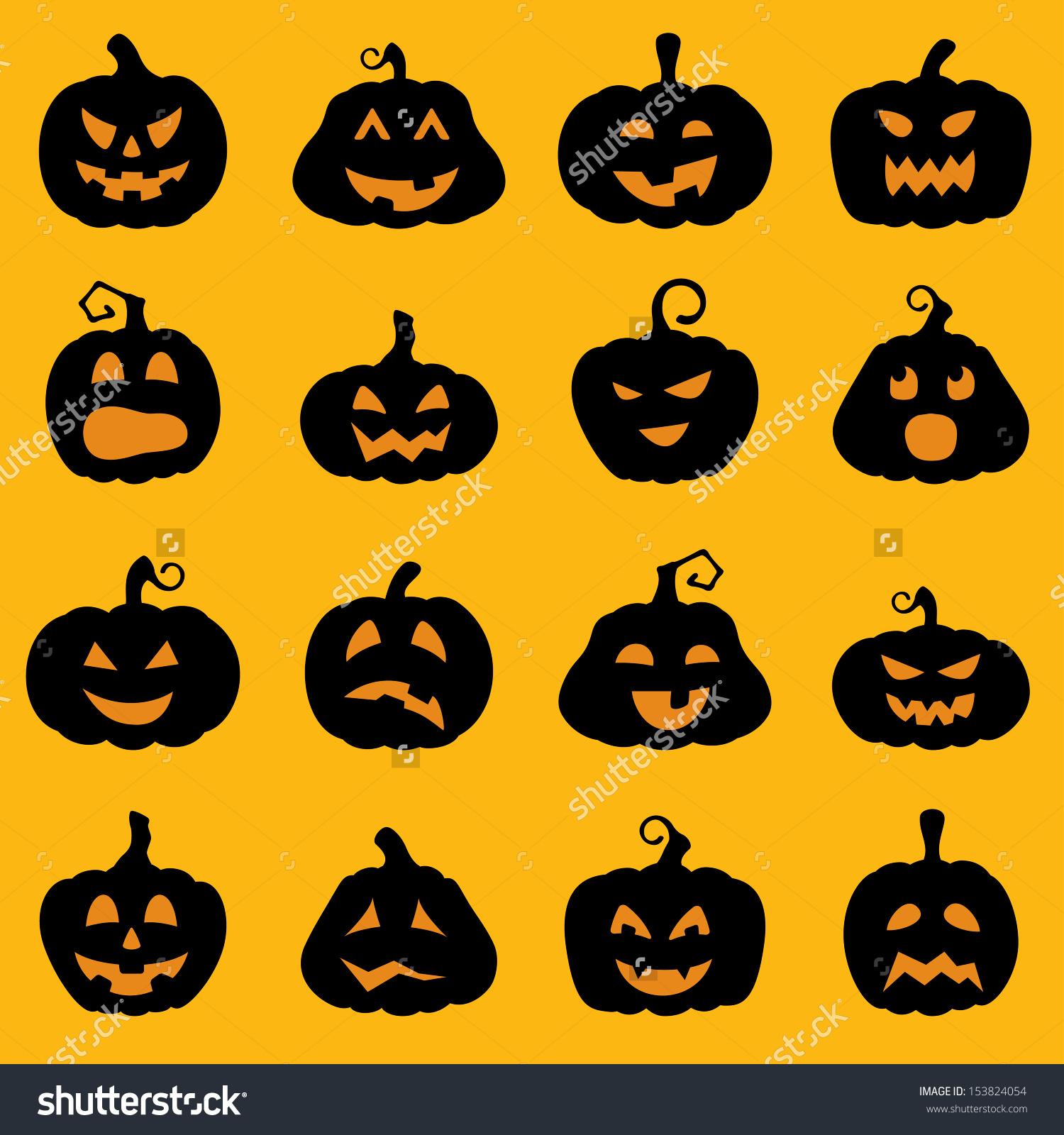 Halloween Decoration Jackolantern Silhouette Set Pumpkins Stock.