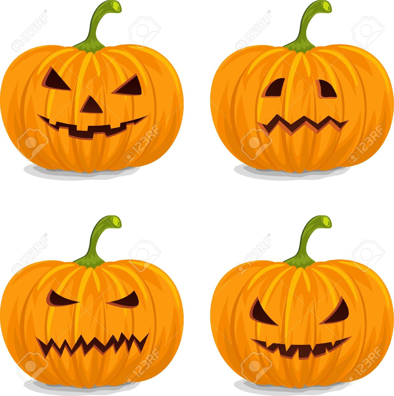 Four Style Decorative Yellow Pumpkins For Halloween. Royalty Free.