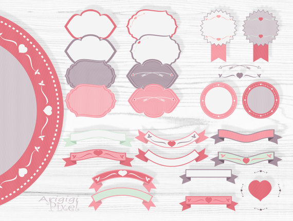 pink retro frames and text dividers clipart set for Valentine.