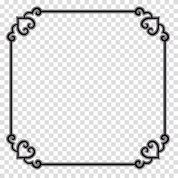 Square, decorative border transparent background PNG clipart.