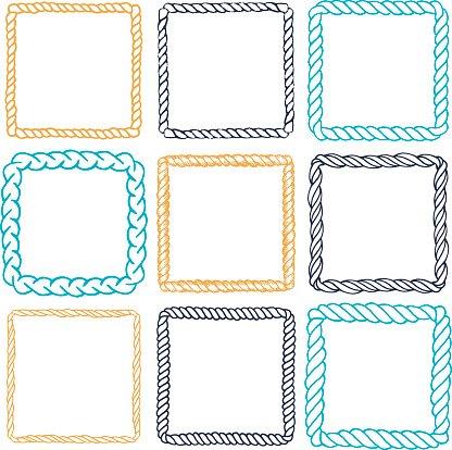 Set of 9 decorative square border frames. Clipart Image.