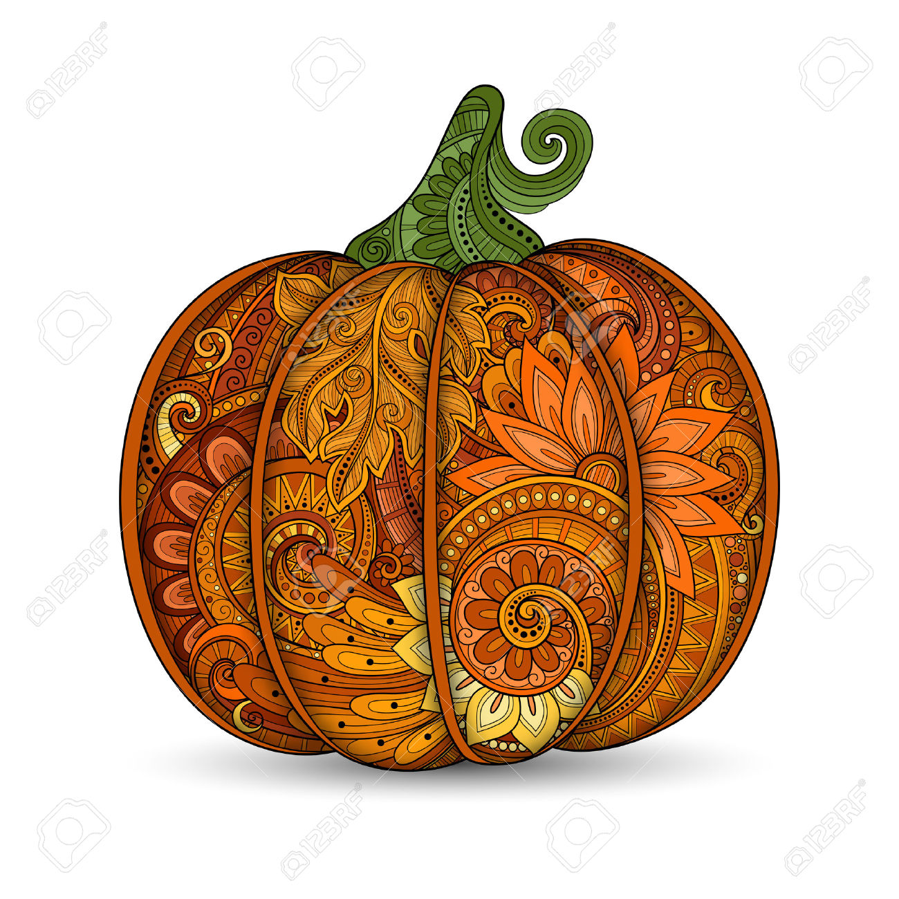 Vector Colored Decorative Punkim With Beautiful Pattern.