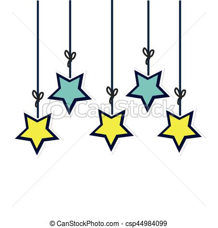 colors stars hanging decorative icon.
