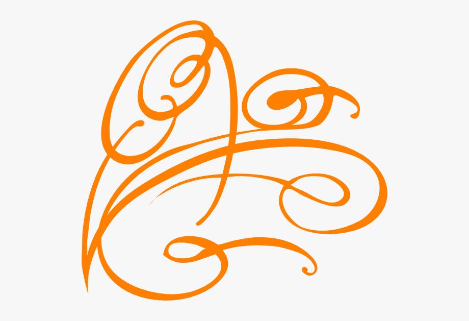 Decorative Swirl Bright Orange Clip Art At Clkercom.