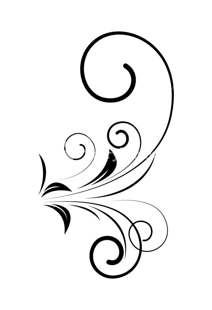 Decorative Swirl Floral Vector Design Element Shape Royalty.