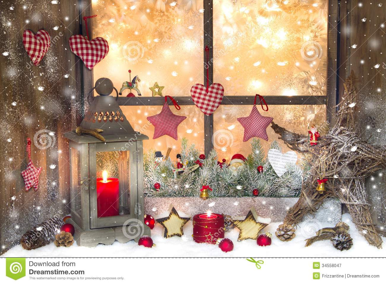 Red Christmas Decoration With Lantern On Window Sill With Wood.