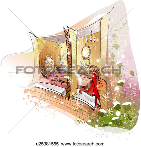 Stock Illustration of Side profile of a woman sitting on a window.