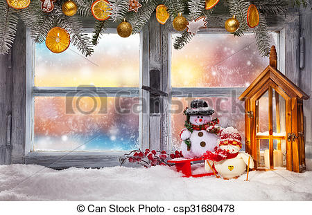Picture of Atmospheric Christmas window sill decoration with.