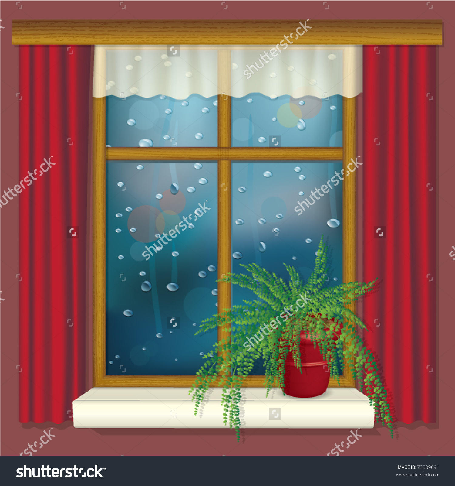 Rainy Window Curtains Flower On Window Stock Vector 73509691.