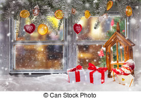 Stock Photography of Atmospheric Christmas window sill decoration.