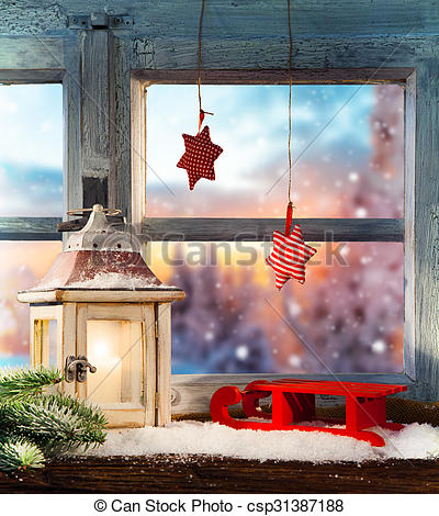 Pictures of Atmospheric Christmas window sill decoration with.
