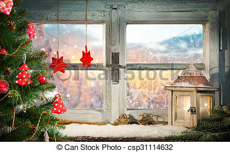 Stock Photos of Atmospheric Christmas window sill decoration with.