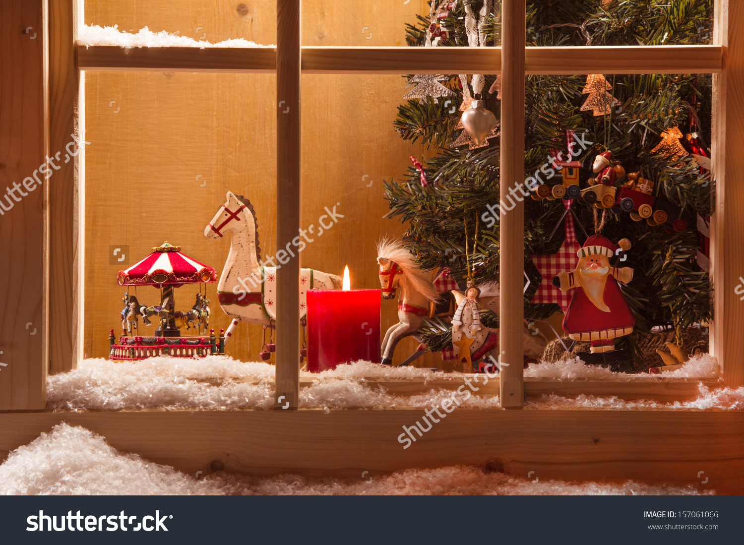 Atmospheric Christmas Window Sill Decorationsnowtreecandlerocking.