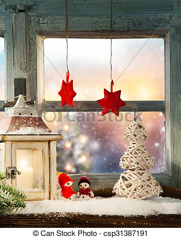 Stock Photographs of Atmospheric Christmas window sill decoration.