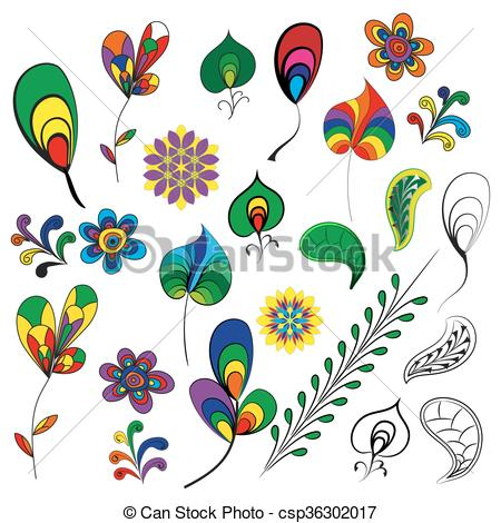 Vector Clip Art of Decorative items for decoration works..