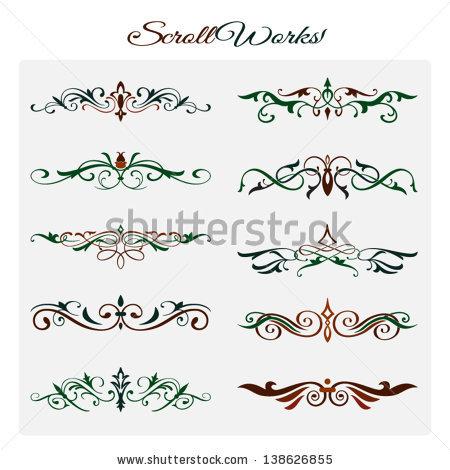 Scroll Works Design, Ornamental Decorative Elements Stock Vector.